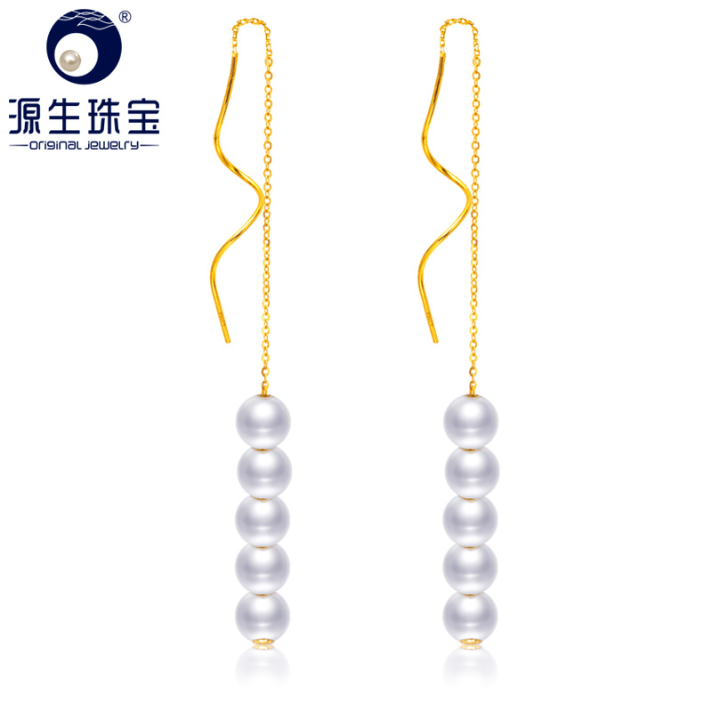 YS Real 18K Yellow Gold Fashion Hot Earring Natural Cultured Freshwater Pearl Drop Fine Jewelry