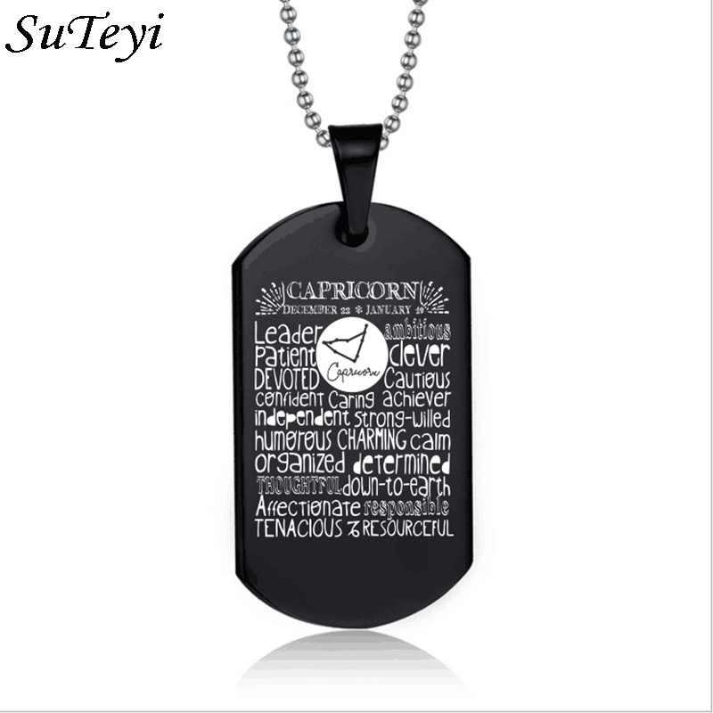 Suteyi Women Men Jewelry Square Shaped Black Color 12 Constellation Pendant Necklace Capricorn Virgo Libra Birthday Gift
