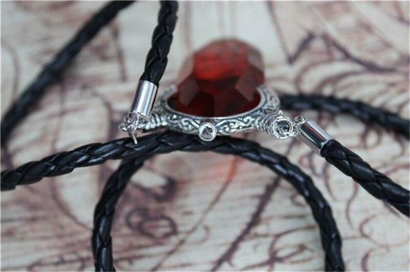 Devil Cry DMC Dante Vergil pendentif collier en cristal rouge avec chaîne de cordon de 60 cm dans le paquet cadeau 925 bijoux en argent unisexe - 5