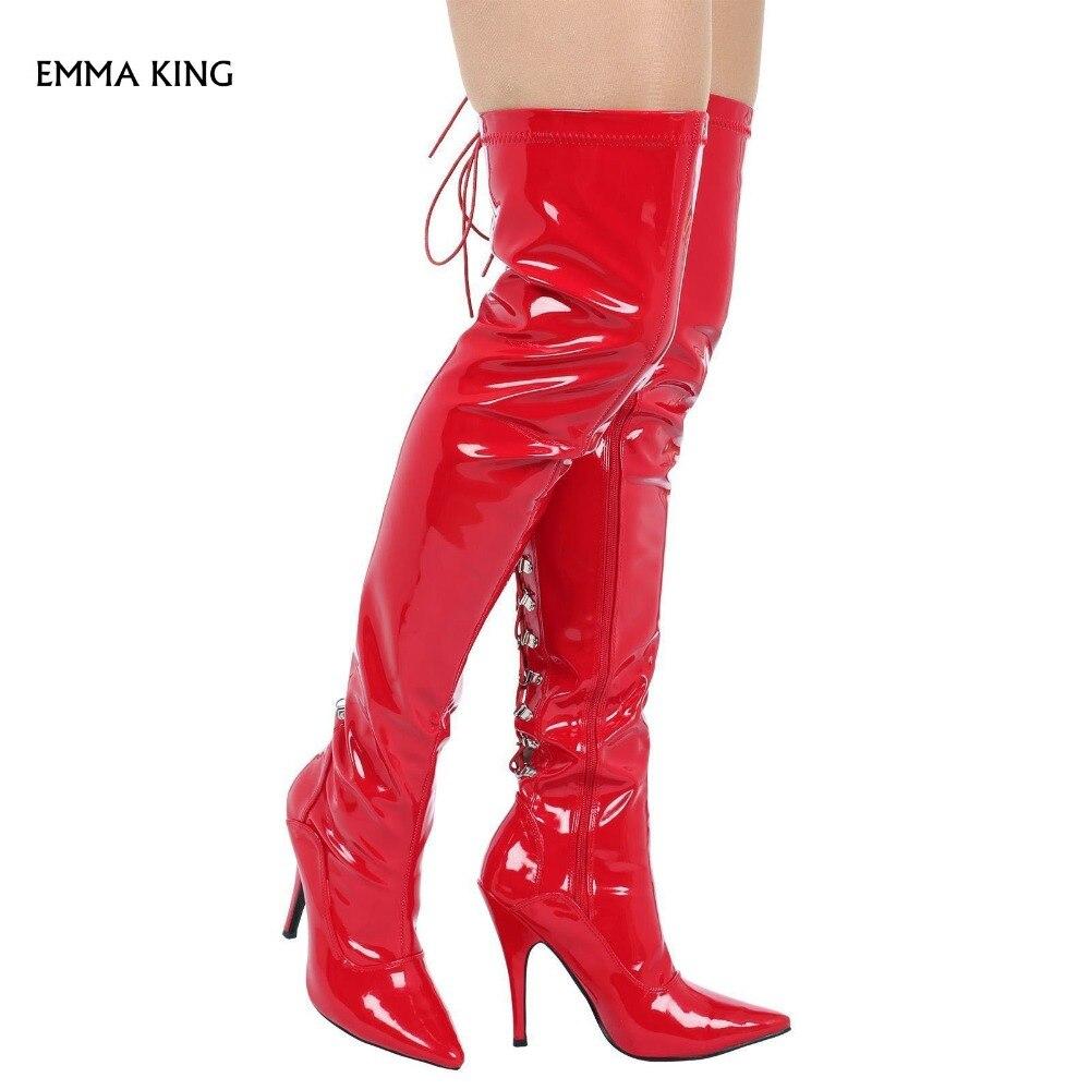 Mujeres Thin Botas Boda rojo Punta Del Atado As En 35 Rodilla La Invierno 40 Tacones De Tamaño Altos Partido Las Sobre Zapatos Cruz Volver Picture Sexy wnnxrq4R