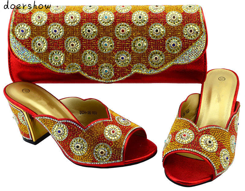 doershow new arrival matching shoes and bags for african party,fashion red shoes and bag set  BCH1-24 2016 spring and summer free shipping red new fashion design shoes african women print rt 3