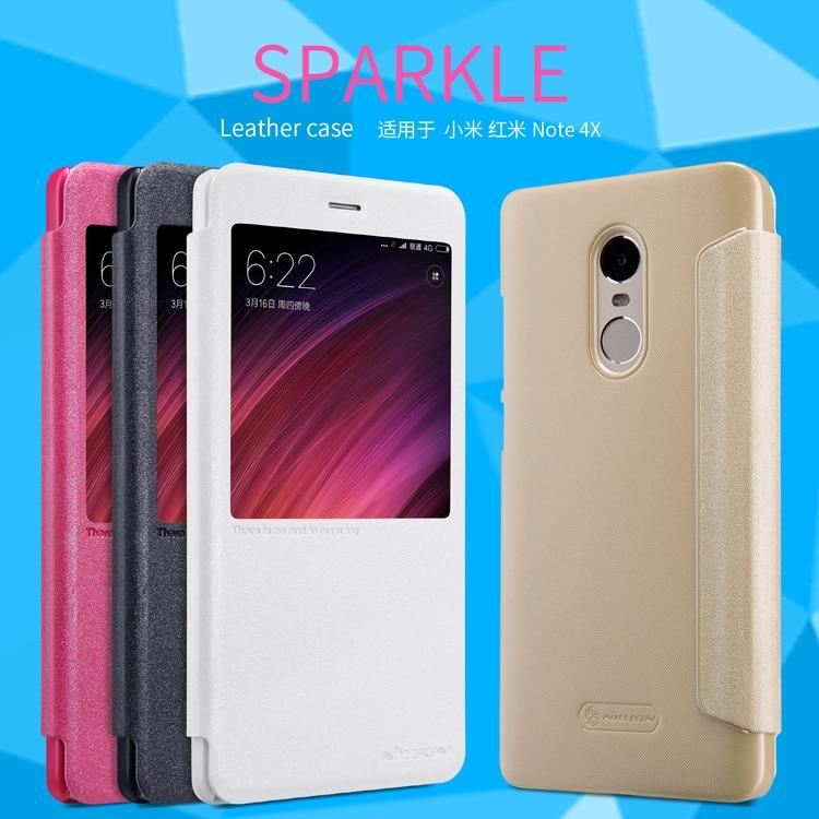 For Xiaomi Redmi Note 4X Case ,Original NILLKIN Intelligence Sparkle Flip Leather Phone cases For Redmi Note 4X Cover Case