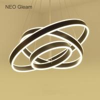NEO Gleam Aluminum White/Black/Gold Led Hanging Chandeliers For Living Dining Room Kitchen Modern Led Pendant Chandelier Fixture
