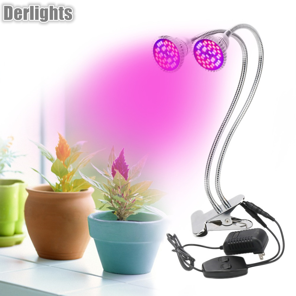 Dual Head Full Specturm Led Grow Light 60W Desk Clip Lamp with 360 Degree Flexible LED Plant Lamp For Indoor Plant Growth babyono нагрудник на липучке жирафики