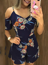 Summer Women Vacation Elegant Leisure Playsuit Spaghetti Strap Short Sleeve Floral Print Cold Shoulder Casual Romper