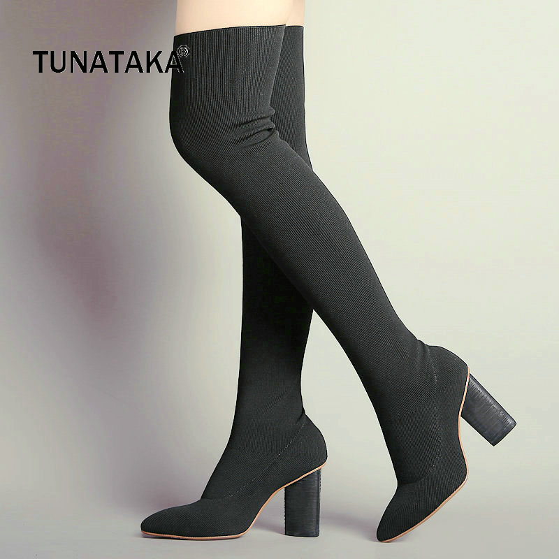 Stretch Fabric Woman Square High Heel Over The Knee Boots Fashion Pointed Toe Slip On Stretch Boots Ladies Thigh Boots