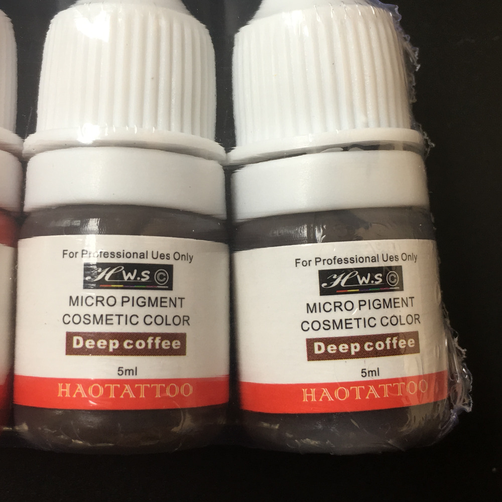 5 bottle Deep Red Professional Vacuum Aseptic Makeup Micro Pigment Cosmetic Color Permanent Makeup Tattoo Ink