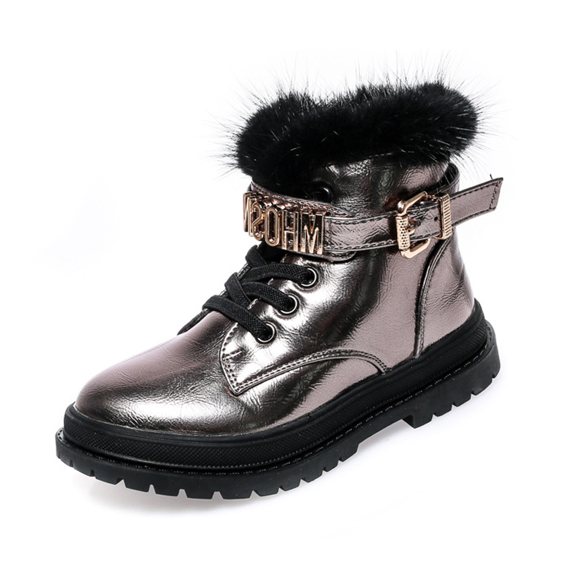 New Arrival 2018 Bling Winter Shoes for Girls Plush Boy Boots Patent Leather Kids Keeping Warm Fur Snow Boots Children Shoes 2018 new girls fur one snow boots winter 2018 new children s net red children s shoes parent child warm cotton shoes lace