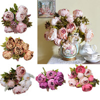 1Bouquet 8 Heads Artificial Peony Silk Flower Leaf Home Wedding Party Decor