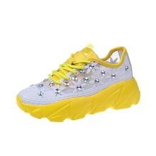 6d592a1dc2 Rimocy hallo straße atmungsaktive air-mesh gelb turnschuhe frauen  komfortable plattform kristall floral frühling sommer
