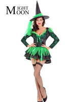 MOONIGHT Halloween Sexy Witch Costume Green Dress Black Witch Hat Women Carnival Party Costume