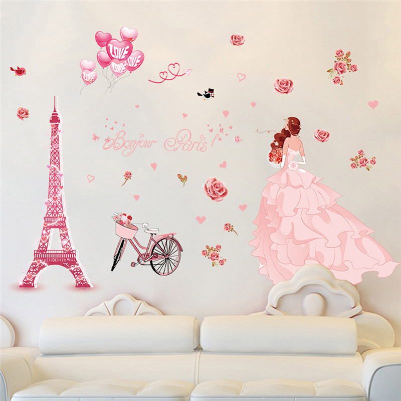 US $3.7 19% OFF|3d wall stickers bedroom romantic DIY Removable Paris iron  girl cartoon Wall Decal Home Sticker children bedroom Pink decals-in Wall  ...