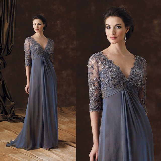 2017  Elegant Gray Long Mother Of The Bride Dresses V Neck Lace Appliques Half Sleeves Chiffon A Line Wedding Party Dress