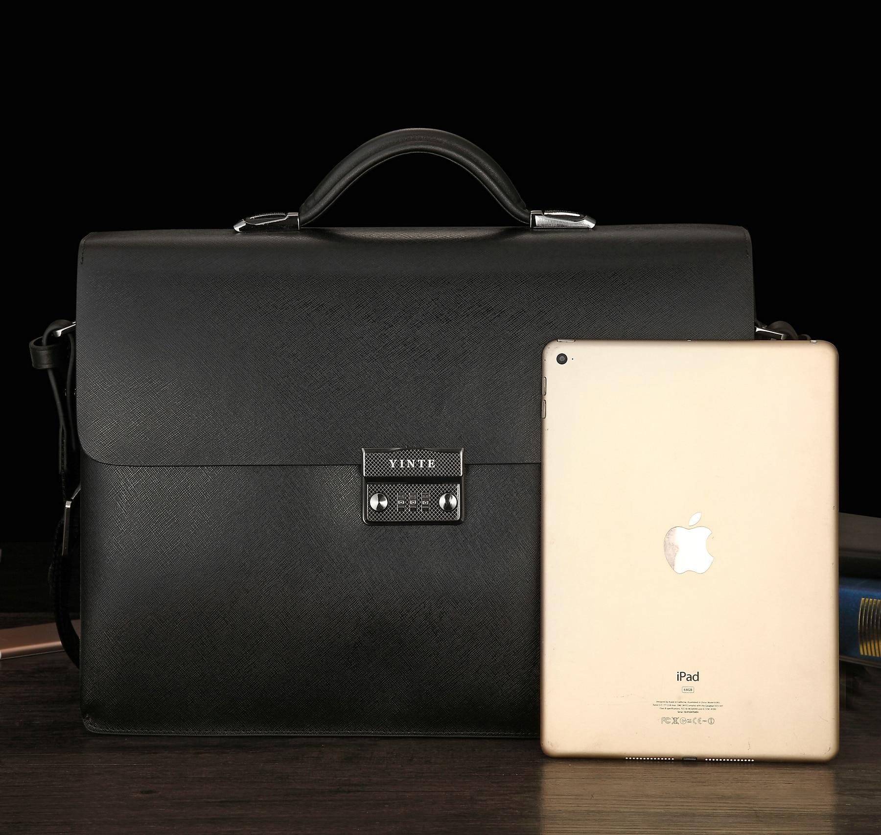 YINTE Hot Business Bag Men's Leather Vintage Formal Business Lawyer Briefcase Messenger Shoulder Attache PortfolioTote T8191-6