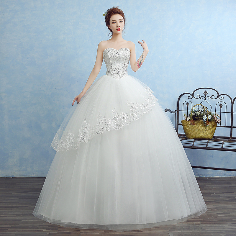 Real photo wedding dresses 2017 Newst diamond bridal gowns strapless pearls beading princesa ball gown with Ruffles in Wedding Dresses from Weddings Events