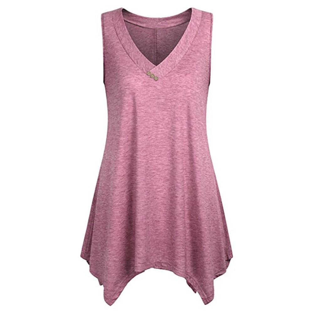 459b3b314de08 Women Plus Size V-Neck Sleeveless Flowy Tunic Tops Pullover T-Shirt Button  Irregular hem sleeveless top camiseta feminina