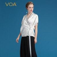 VOA Лето тяжелый шелк белая блузка кимоно Модные платья с v образным вырезом Женские топы Плюс Размер Короткая Повседневная рубашка с коротки