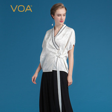 VOA Summer Heavy Silk White Kimono Blouse Fashion V-neck Sashes Women Tops Plus Size Brief Casual Short Sleeve Shirt BST00201