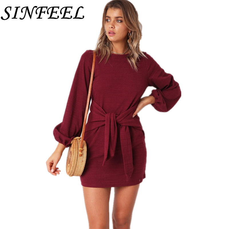 <font><b>Elegant</b></font> <font><b>Fashion</b></font> <font><b>Autumn</b></font> Knitted Dress <font><b>2018</b></font> <font><b>Women</b></font> Casual Vintage Dress <font><b>Sexy</b></font> Bandage <font><b>Bodycon</b></font> Long Sleeve Party Mini Dresses Robe image