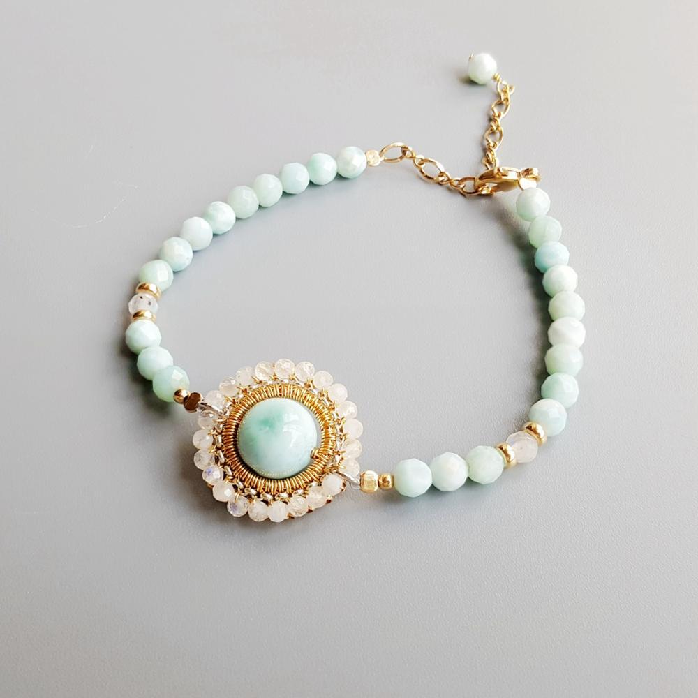 Lii Ji Planet série véritable pierre de lune Larimar 9K-GF ajuster Bracelet bijoux délicats pour les femmes