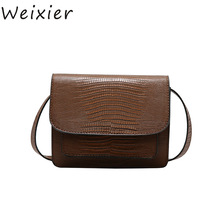 WEIXIER Retro Female Square bag 2019 Quality PU Leather Women bag Crocodile pattern Tote bag Lock Shoulder Messenger Bags LY-39
