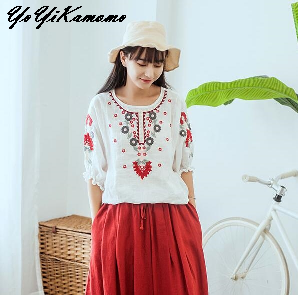 bf2013b999a YoYiKamomo Cotton Linen Shirt Vintage Mori Girl Tops 2018 Spring Summer  Floral Embroidery Loose National Lantern Sleeve Blouse-in Blouses   Shirts  from ...