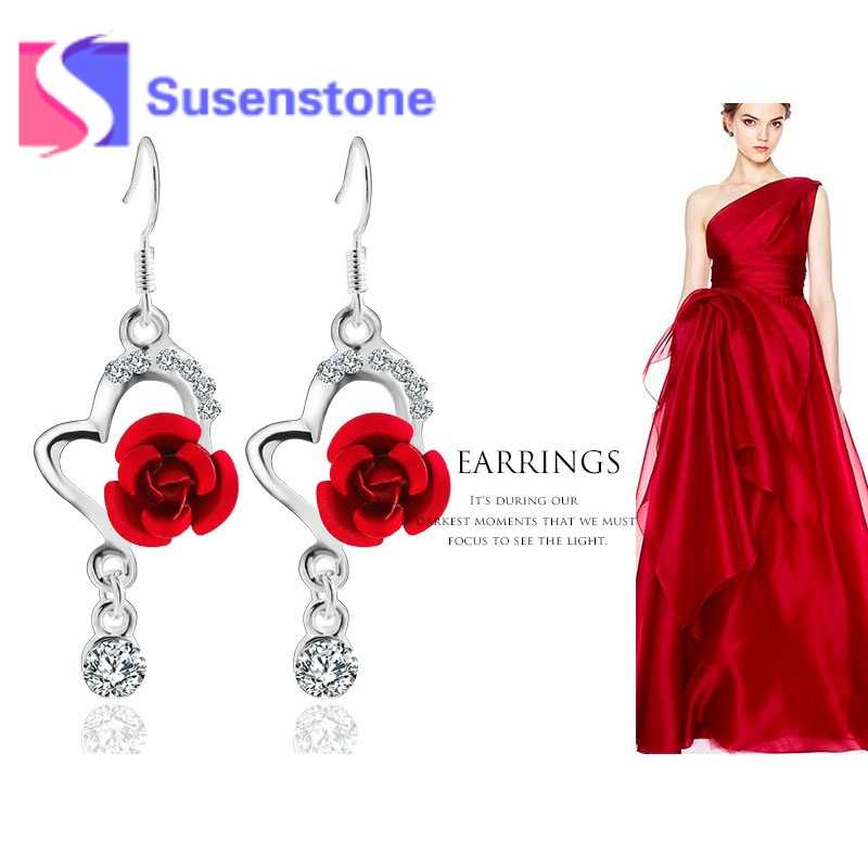 Big  Rhinestone Pendant Fashion Long Paragraph Earrings Three colors  Rose   Drop Earrings Purple Red Hot Pink