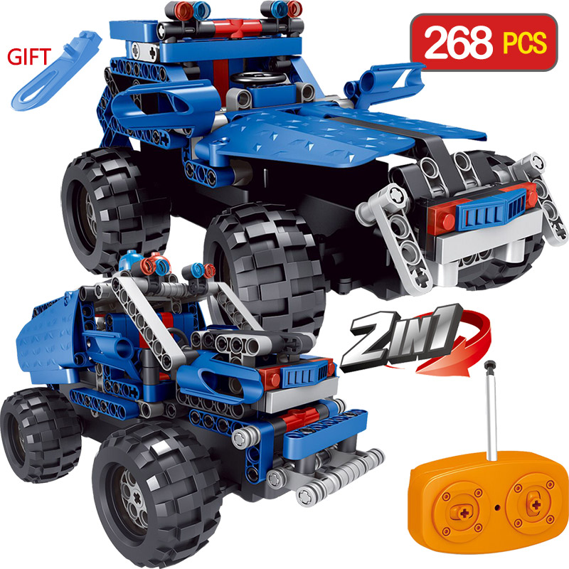 2 IN 1 Radio Control Remote Control Building Blocks Car LegoINGlys RC Blue SUV Off-road Vehicles Toy DIY Toy for Children Gift 2 in 1 rc car compatible legoinglys radio technical vehicle green suv control blocks assembled blocks children toys gift