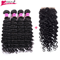 7A Grade Virgin Unprocessed Human Hair Brazilian Deep Wave with Closure Human Hair Weave Bundles 4x4 Closure Free Shipping