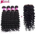 7A Grade Virgin Unprocessed Human Hair Brazilian Deep Wave with Closure Human Hair Weave Bundles 4x4 Closure Free Shipping