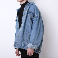Wholesale 2019 Autumn winter Korean loose oversize denim jacket men's retro Cargo washing student teenagers jacket men clothing