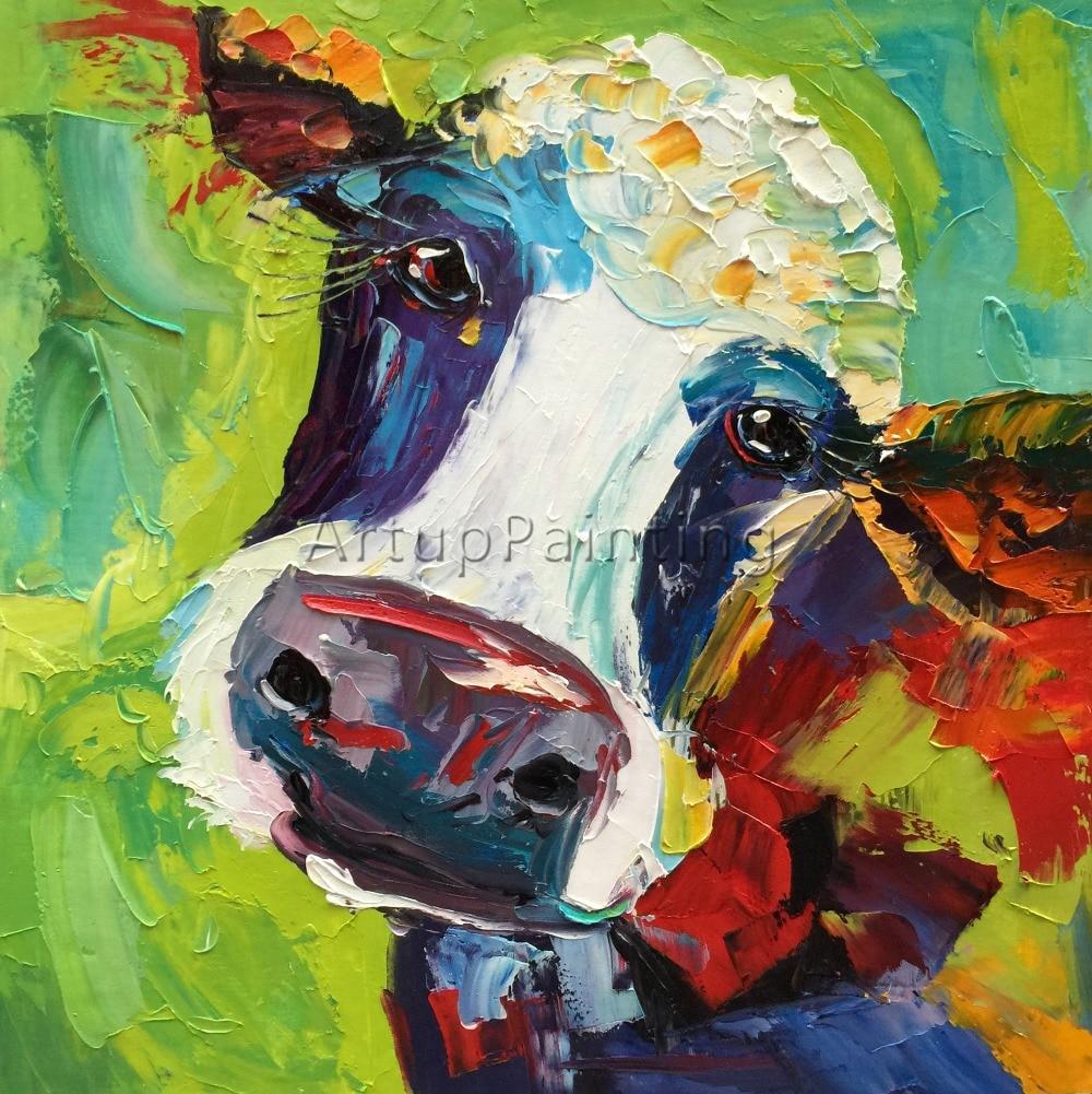 Kráva malování na plátně Zvířecí akrylové obrazy Obrazy umění umění pro obývací pokoj platinový nůž moderní abstraktní ručně malované 3