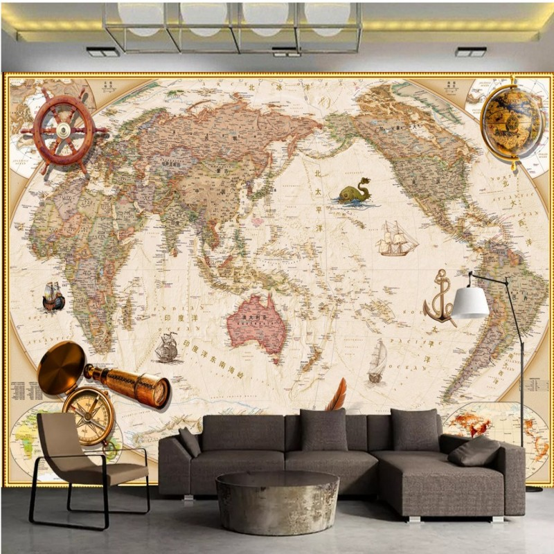 vintage chinese and english world map wallpaper company office hotelvintage chinese and english world map wallpaper company office hotel wall decoration murals wall covering study living room in wallpapers from home