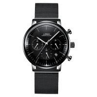 LOREO 6112 Germany Watches Men Luxury Brand Calendar Chronograph Black Stainless Steel Sapphire High Quality Multifunction