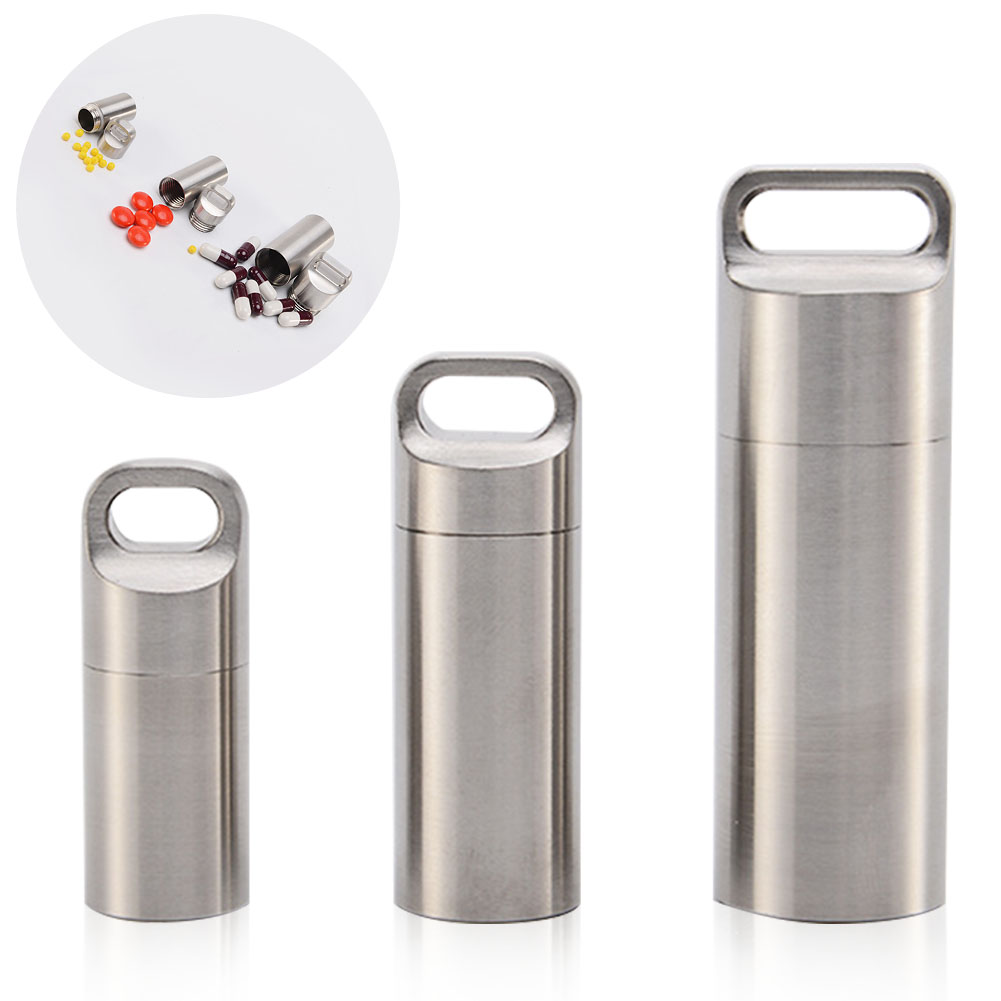 Waterproof Tank Durable Capsule Stainless Steel Accessories Non Slip Outdoor Mini Camping Survival Portable Pill Bottle Sealing