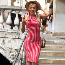 NewAsia Garden Sexy Backless Summer Dress Striped Red Midi Dress Party Bodycon Dress Cotton Skinny Women Dresses Beach Sundress(China)