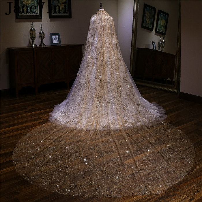 4bc7c161 Shining Bling Long Cathedral Bridal Veil with Comb Wedding Veil Ivory Gold  with Glitters 2018 Bridal Veils