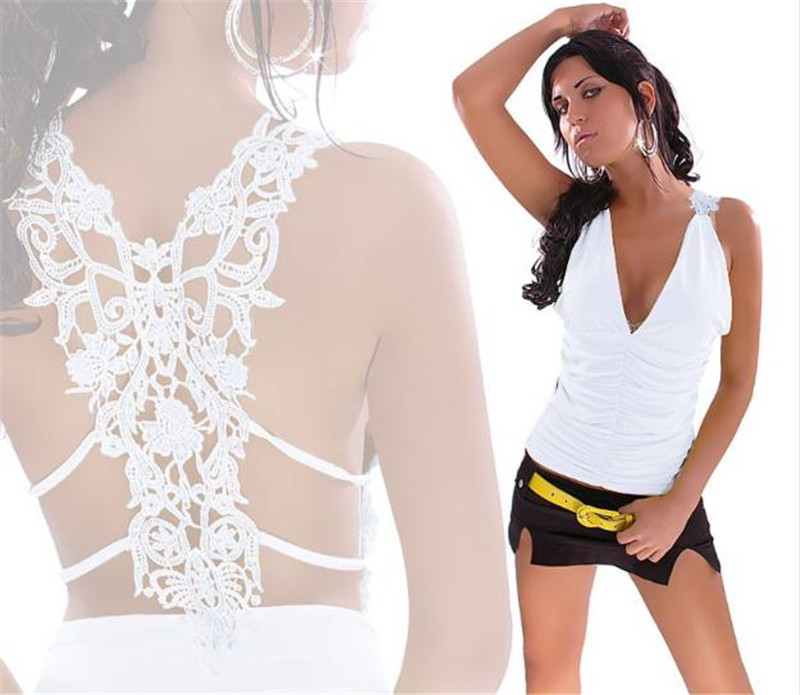 50pcs/lot Women's Sexy Tank Top Hollow Out Vest Deep V Collar Vest Sexy Lace Backless Vest for Female