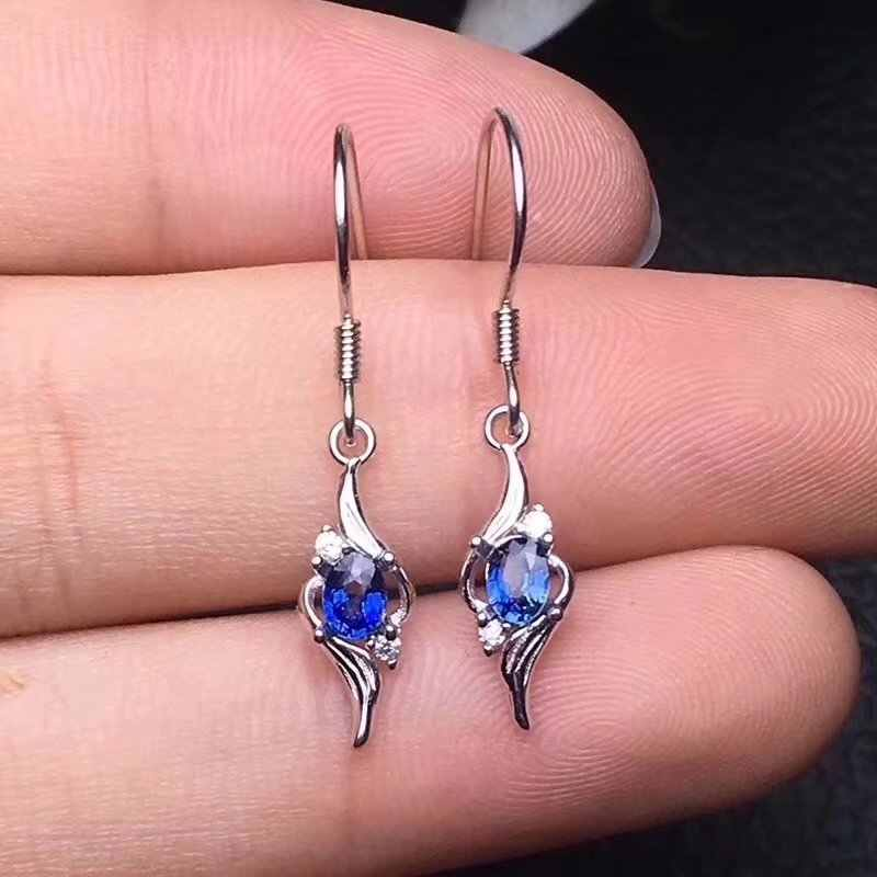 Fidelity natürliche 3*4mm Sri Lanka sapphire s925 silber ohrringe mode edlen schmuck für frauen partei Natürliche blau edelstein