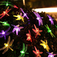 Yingtouman اليعسوب 20 أدى قلادة مصباح الشمسية سلسلة أضواء الديكور ل شجرة عيد الميلاد حزب حديقة الباحة فانوس 4.8 متر