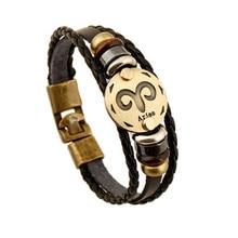 Fashion Bronze Buckles 12 Constellation Aries Bracelet Punk Leather Bracelets Wooden Bead Jewelry For Men Women Charm B04