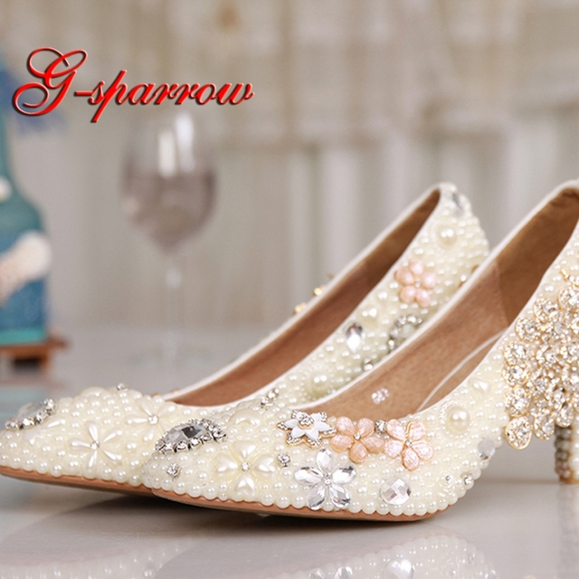 8bb68254950d5 Graduation Ceremony Women Kitten Heel Ivory Pearl Wedding Shoes Luxury  Colorful Crystal Shoes Rhinestone Pumps Party