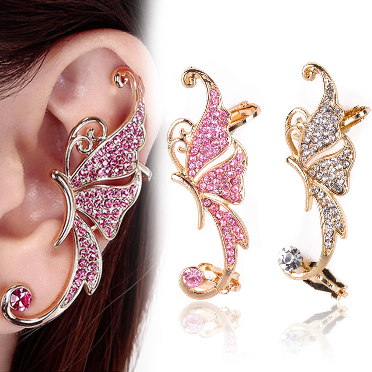 1pcs Fashion Cute Butterfly Rhinestone Crystal Butterfly Ear Cuff Clip  Cartilage Earring For Women Jewelry Gift