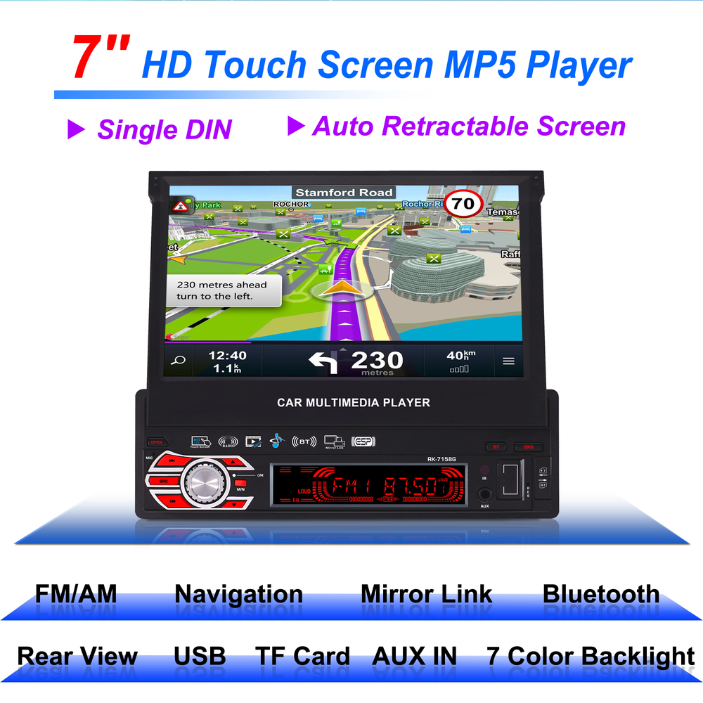 7158G Single Din 7inch Car GPS Navigation with Map 1Din Multimedia MP5 Player 7 colors font