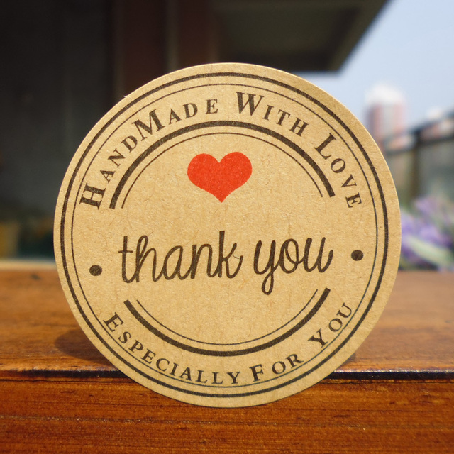 102pcs Handmade wtih Love Red Heart Thank you Round Scrapbooking Paper Labels Seal Sticker, DIY Gift Sticker Dia.3.8cm