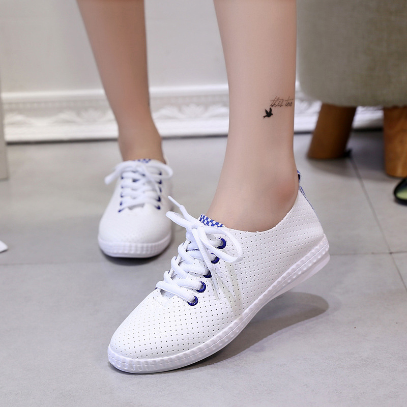 Hot selling Size39 44 New Wild 2017 Women Canvas Lace Up Shoes Vulcanized Flat Shoe for