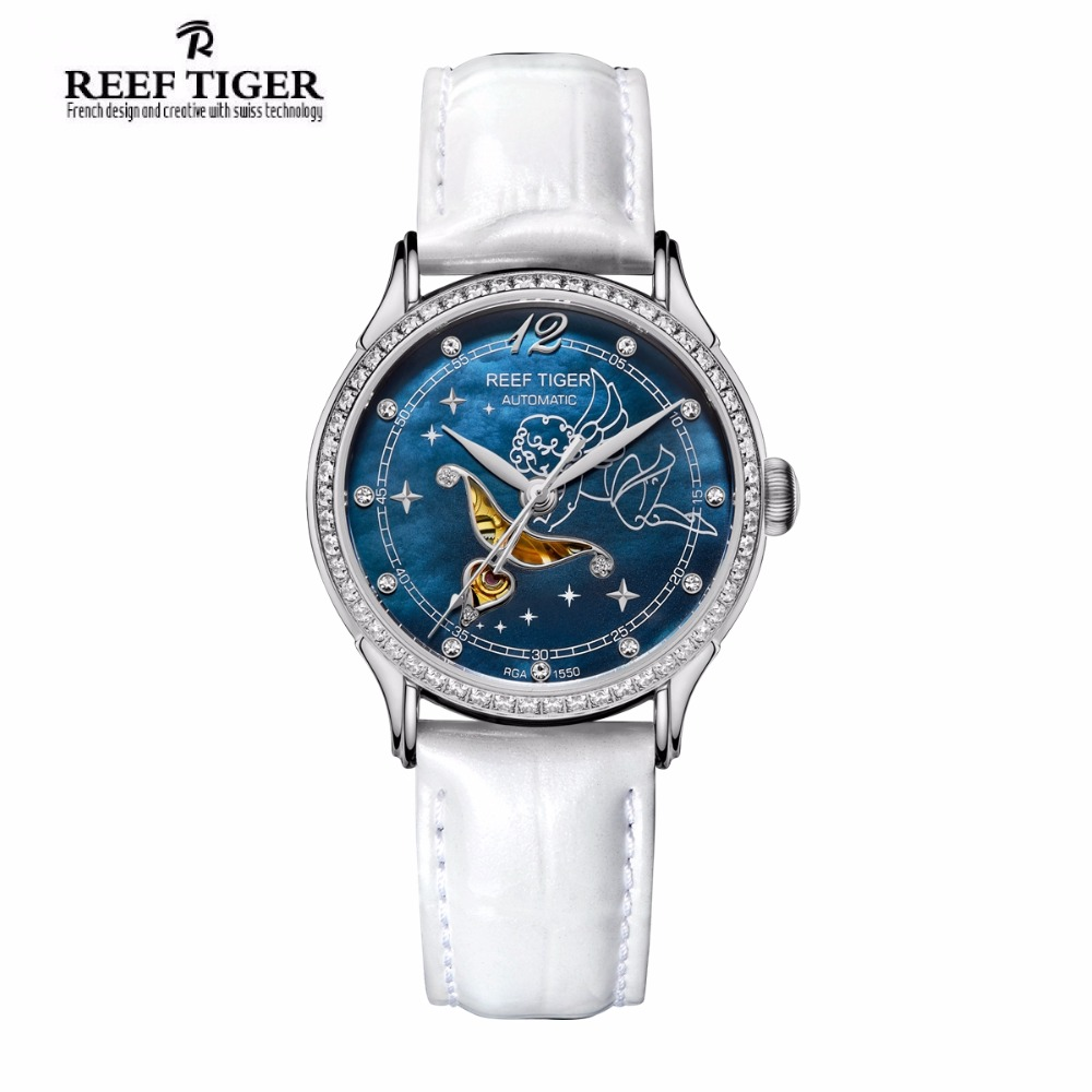 New Reef Tiger/RT Fashion Womens Watches Blue Dial Stainless Steel Watches for Lover Diamonds Ladies Watches RGA1550 yn e3 rt ttl radio trigger speedlite transmitter as st e3 rt for canon 600ex rt new arrival