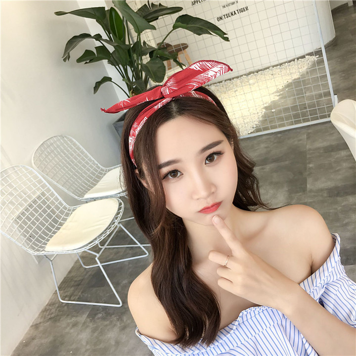 15 Metal Wire Scarf Headband Headwear Women Rabbit Ear Hairband Fabric Hairwrap Tie Head Band Bowknot Hair Accessories For Women 30