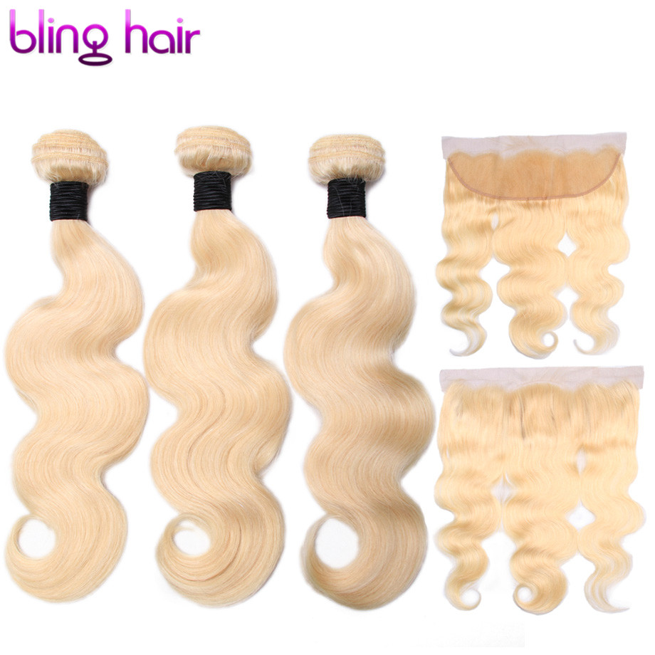 Bling Hair Extensions Body Wave 3 Bundles With Lace Frontal 13x4 Free Part Non Remy Human
