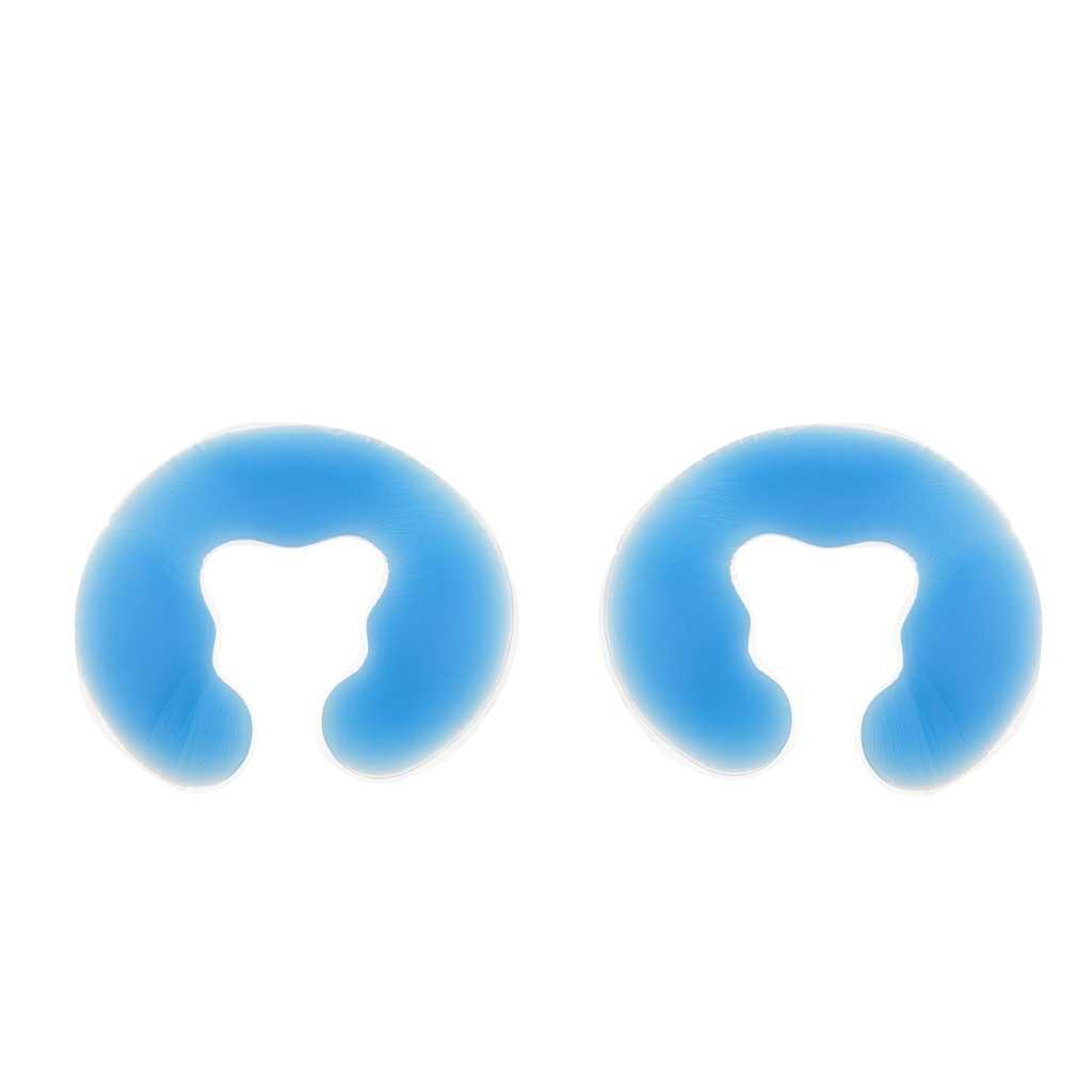 2 adet yumuşak silikon yüz yastıkları Spa masaj kafalık Salon güzellik için mavi